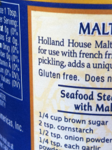 malt vinegar labeled gluten free